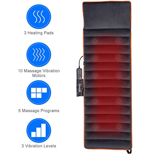 5 Motor Massaging Mat - Giantex Full Body Massage Shiatsu, 10-Motor Massage Mat with Heat and 4 Therapy Heating Pad for Relieving Back Lumbar Leg Pain