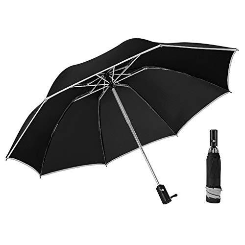Usmascot Travel Umbrella, Auto Open & Close, Fast Drying, Reflective edge, Reverse Folding Reinforced Windproof Frame, Easy Carry Men's & Ladies Umbrellas, Slip-Proof Handle, 42inch (Black)