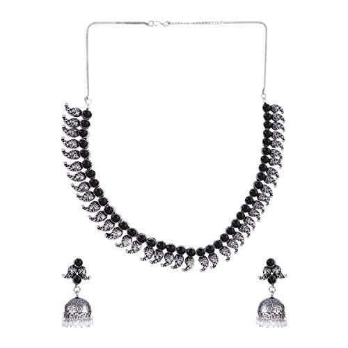 Efulgenz Boho Vintage Antique Ethnic Gypsy Indian Oxidized Silver Crystal Cubic Zirconia Bridal Necklace Earrings Jewelry Set (Vintage Jewelry Silver)