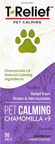 MediNatura T-Relief Pet Calming Chamomilla +9 Homeopathic Stress Relief - Natural Herbal Comfort + Nervousness Relief - Relax Naturally with Chamomile, Passionflower & Valerian - 90 Tablets