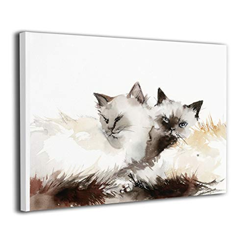 SRuhqu Canvas Wall Art Prints Birman Cat Couple Two Cats -Photo Paintings Modern Decorative Giclee Artwork Wall Decor-Wood Frame Ready to Hang
