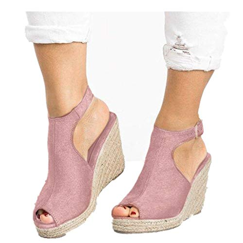 Cenglings Wedges Sandals,Women's Fish Mouth Espadrilles Slingback Platform Sandals High Heel Ankle Strap Beach Shoes Pink