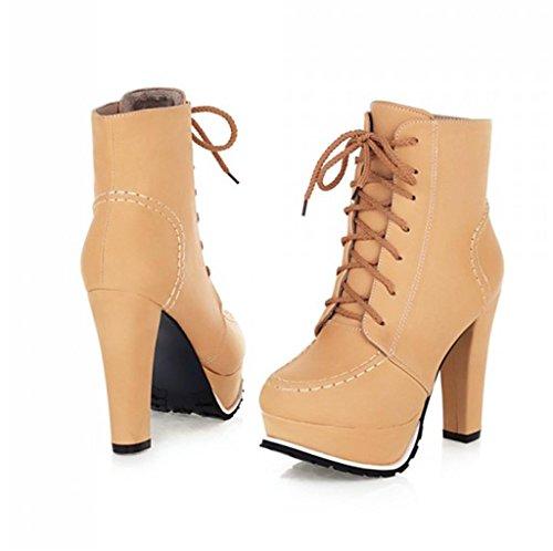 MNII Women Straps Vintage Pump Platform Low Top High Heel Ankle Boots Party Bridal Shoes- Fashion shoes apricot C4bOn