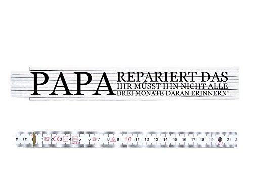 ZOLLSTOCK Spruch PAPA REPARIERT DAS Meterstab, beidseitig bedruckt Geschenk