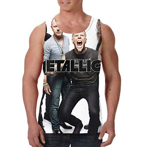 PSnsnX Metallica Music Bands Heavy Metal Hard Rock Groups Mens All-Over Print Tank Tops Slim Fit Muscle Shirts Black