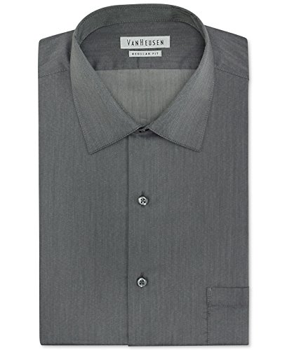 Van Heusen Men's Classic-Fit Royal Herringbone Dress Shirt Size 17 1/2 34-35 Black Pepper - Herringbone Wrinkle Free Dress Shirt