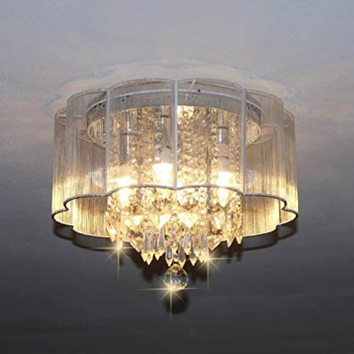 Modern Flush Mount Drum Chandelier Lighting Ceiling Light Fixtures, 4-Light Crystal Chandeliers with Large White Shade for Living Room Dining Room Bedroom Chandelier W16 x H13 of CRYSTOP