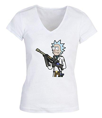Rick And Morty Tv Show Gunfire Damen V-neck T-shirt