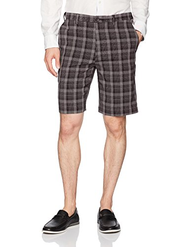 (Haggar Men's Cool 18 Pro Straight Fit Stripe Plaid Flat Front Short, Black, 36)