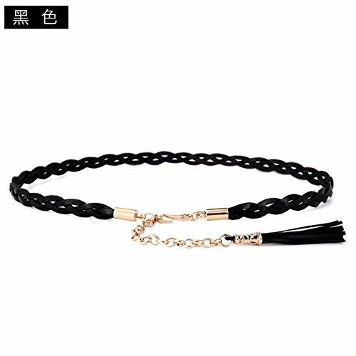 LONFENN President braided thin waist belt first layer kraft minimalist decor minimalist leather belt with a shirt skirt waist chain, black,80cm-95cm