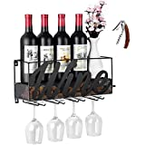 CSmile Iron Wine Rack Wall Mounted Black Wine Glass Rack Wine Cork Holder Gifts Come with Wine Opener