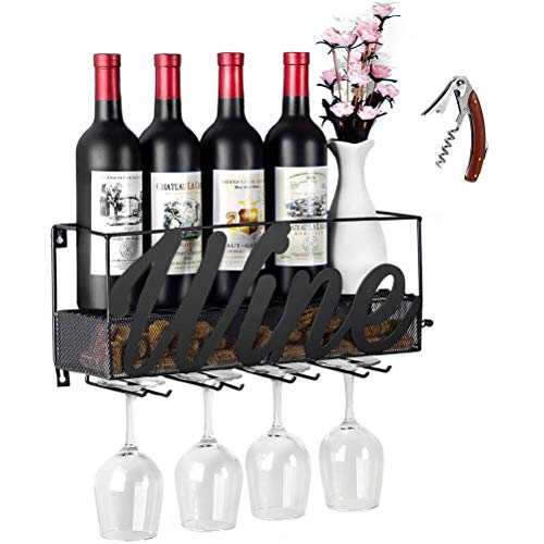 CSmile Iron Wine Rack Wall Mounted Black Wine Glass Rack Wine Cork Holder Gifts Come with Wine Opener by CSmile