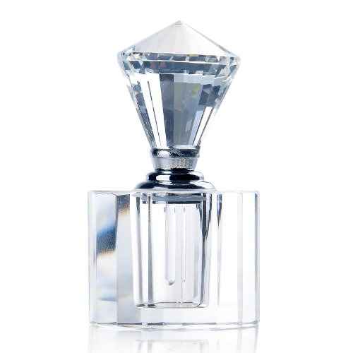 H&D HYALINE & DORA Vintage Clear Crystal Diamond Cap Mini Refillable Perfume Bottle Empty for Gift or Travel 3ml