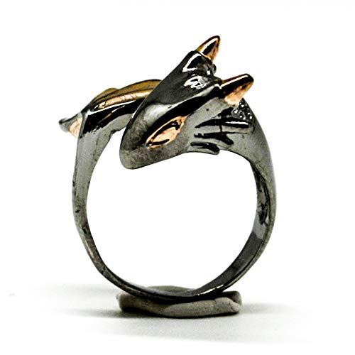 Baby Twilight Dragon Ring by MONVATOO London, a free-size (adjustable band) 18k pink gold plated petite dragon ring jewelry for small fingers ()
