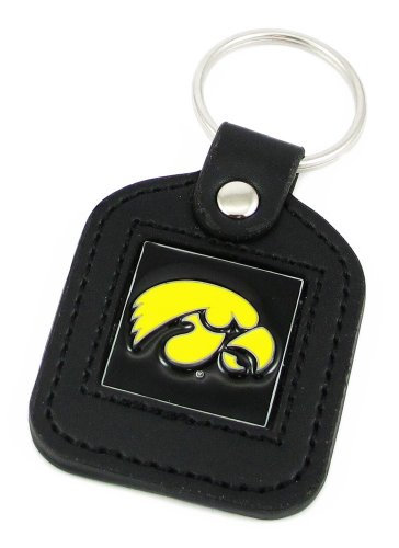 Ncaa Keychain Ring - Iowa Hawkeyes Leather Square Key Ring - NCAA College Athletics Fan Shop Sports Team Merchandise