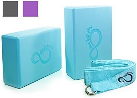 Premium Yoga Blocks & Metal D Ring Strap Yogi Set (3PC) 2 High Density EVA Foam Blocks to Support & Deepen Poses, Improve Strength, Flexibility & Balance - Lightweight, Odor & Moisture Resistant