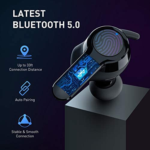 Wireless Earbuds, UTRAI Sport True Wireless 3D Stereo Bluetooth 5.0 Earphones TWS Noise Cancelling Headphones in-Ear Headset with Deep Bass, Touch Control, 26H Cyclic Playtime, Built-in Mic AirOn 2