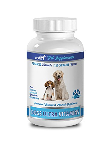 PET SUPPLEMENTS Dog Muscle Builder - Ultra Vitamins for Dogs - Chews - Powerful Formula - Mineral Complex - Vitamin c for Dogs Pills - 90 Treats (1 Bottle)