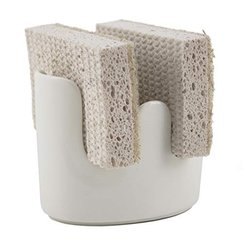 scarlettwares Sponge Holder Ceramic Holds Two Sponges Kitchen Sink Organizer