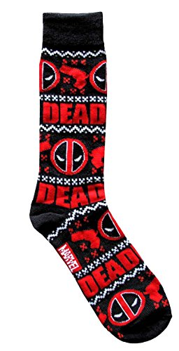 Marvel Deadpool Ugly Sweater Pattern Men's Crew Christmas Socks Shoe Size 6-12