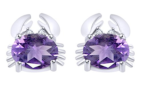 Round Cut Simulated Alexandrite Crab Stud Earrings In 14K White Gold Over Sterling Silver