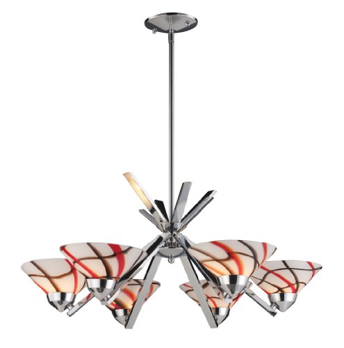Elk 1475/6CRW 6-Light Chandelier In Polished Chrome and Creme White Glass