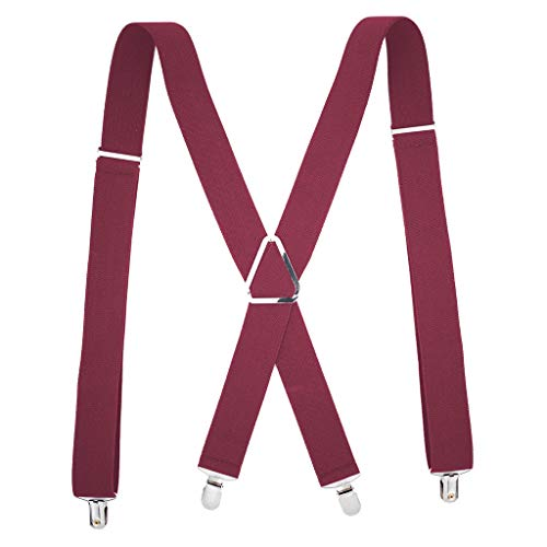 Mens Suspenders X-Back 3.5cm Wide Adjustable Solid Straight Clip Suspenders