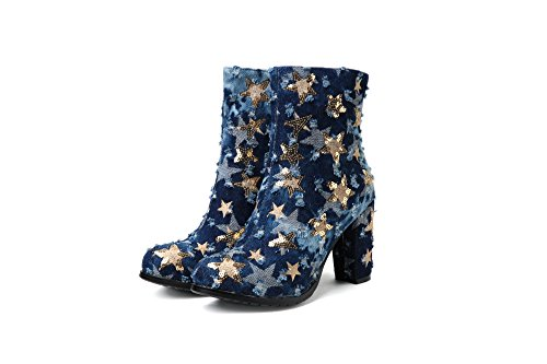 Carolbar Mujeres Demin Fabric Zip Lentejuelas Star High Heel Short Botas Azul No. 3