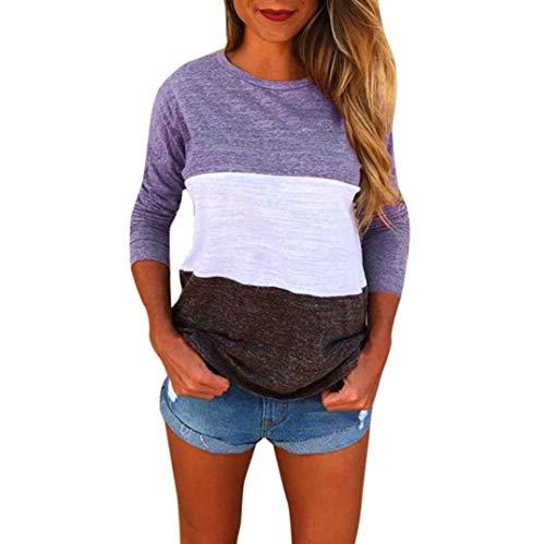 ABCone-Donna Pullover Felpa Patchwork della Giuntura del O-Collo T-Shirt Maniche Lunghe Elegante Autunno Camicette Camicie Casual Tops Viola