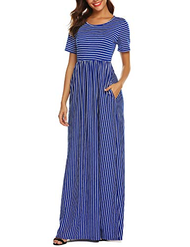 - URRU Women's Casual 3/4 Sleeve Striped Floral Pleated Long Maxi Dress with Pockets Blue XL