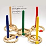 Sports Festival Wooden Ring Toss Game Set Comes with 5 Colors and 5 Rope Rings Carrying Case Compact and Easy to Use Portable