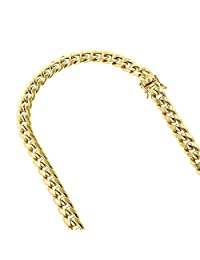 10K Yellow Gold Hollow Miami Cuban Link Chain Necklace with Box Lock Clasp Open Link 7mm Wide