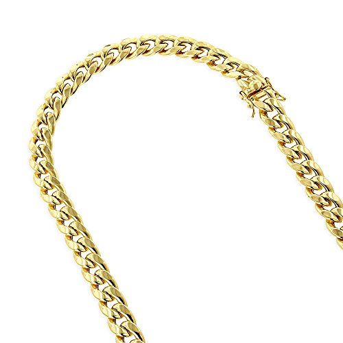 IcedTime 10K Yellow Gold Hollow Miami Cuban 7mm Wide Chain Open Link Necklace Box Lock Clasp 24