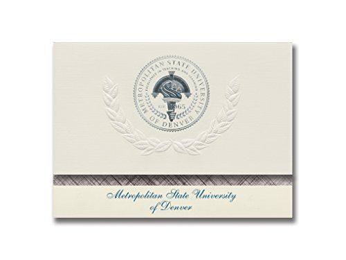 Signature Announcements Metropolitan State University of Denver Graduation Announcements, Platinum style, Basic Pack 20 with Metropolitan State College Seal Foil