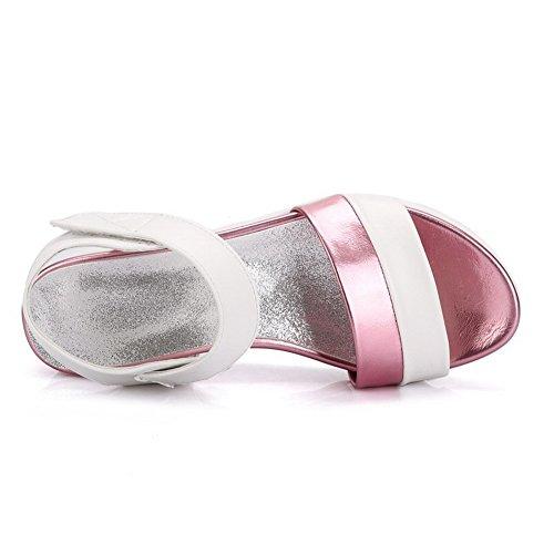 AgooLar Mujeres Velcro Plataforma Pu Colores Surtidos Puntera Abierta Sandalia Rosa