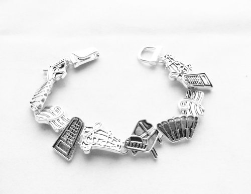 [Icon Collection Silver - Plated Piano Music Bracelet] (Orchestra Conductor Costume)