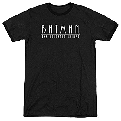 Batman The Animated Series Logo Mens Adult Heather Ringer Shirt Black Sm