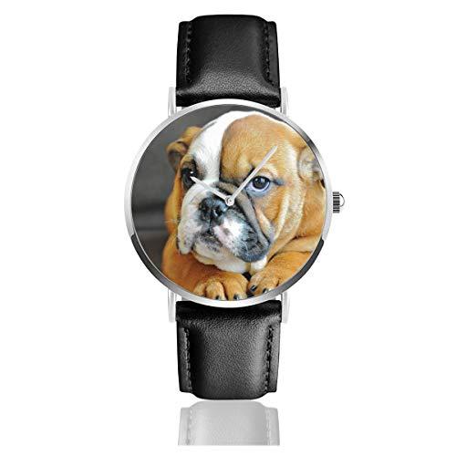 Kneeling English Bulldog Unisex Watch Fashion Sport Watch PU Leather Band Quartz Stainless Steel Wrist Watches Slim Classic Waterproof Business Watch ()
