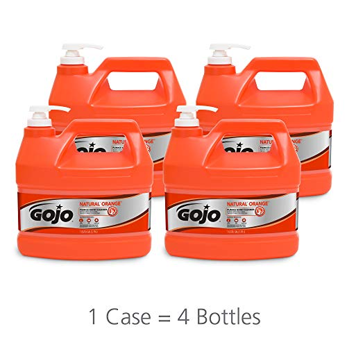 GOJO NATURAL ORANGE Pumice Industrial Hand Cleaner, 1 Gallon Quick Acting Lotion Hand Cleaner with Pumice Pump Bottle (Pack of 4) - 0955-04 ()