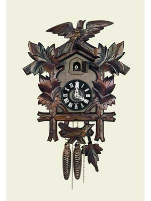 - Orignal Hand Carved Cuckoo Clock with Flowers and One Day Movement 12 Inch
