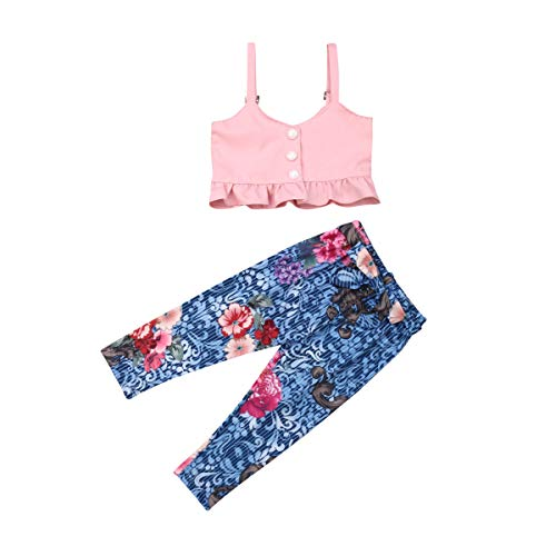 Toddler Baby Girl Strap Outfits Halter Off-Shoulder Tank Top+Floral Print Legging Pant Summer Two Piece Clothes Set Pink