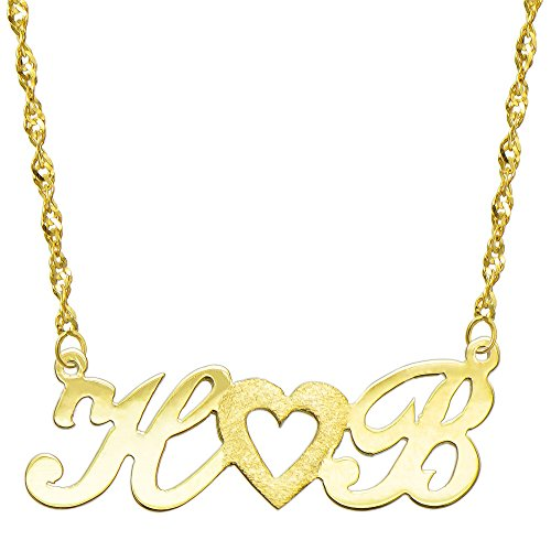 14K Yellow Gold Personalized Name Plate Necklace - Style 3 (18 Inches, Singapore Chain) 14k Yellow Gold Nameplate