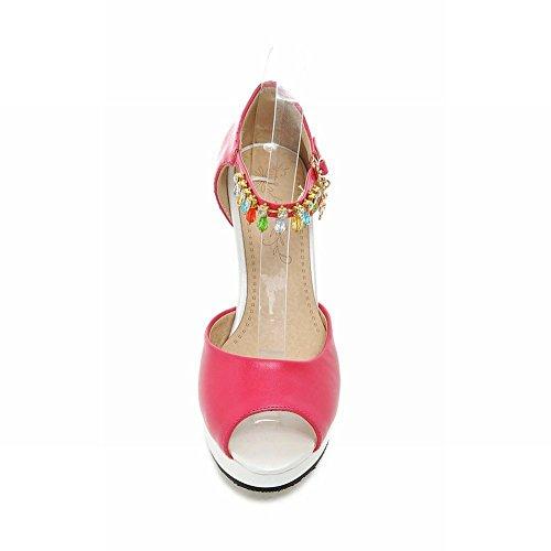 Piede Di Fascino Delle Donne Piattaforma Di Moda Tacco Alto Sandalo Peep Toe Vestito Rosso