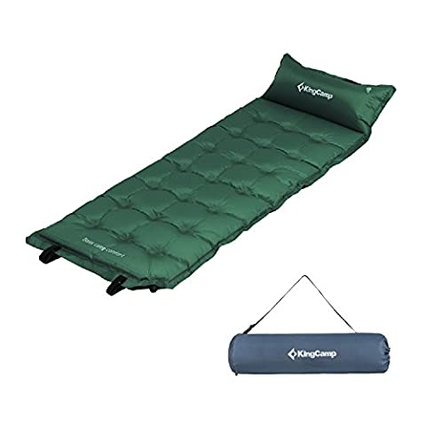 KingCamp Camping Self-Inflating Pad,Sleeping Mat with Attached Inflatable Pillow,Water Repellent Coating, Quick Flow ABS Value, Firm Ultralight Comfortable for - Base Pad
