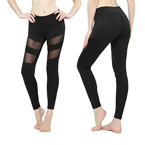 b9b712108d Amazon.com: OwnShoe Women's Yoga Pants Mesh Stitching Tummy Control Running  Athletic Workout Tights Leggings: Clothing