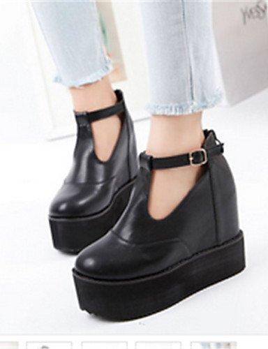 Uk6 Negro Botas Semicuero Black Eu39 Casual us8 Zapatos De Mujer Punta Plataforma Redonda Xzz Cn39 Oqp1p