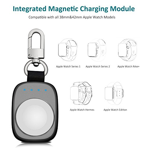 FLAGPOWER Portable Wireless Apple Watch Magnetic Charger, [Apple MFI Certified] Pocket Sized Keychain for Travel, Built in Power Bank for iWatch, Compatible with Apple Watch Series 3/2/1/Nike+ by FLAGPOWER (Image #2)
