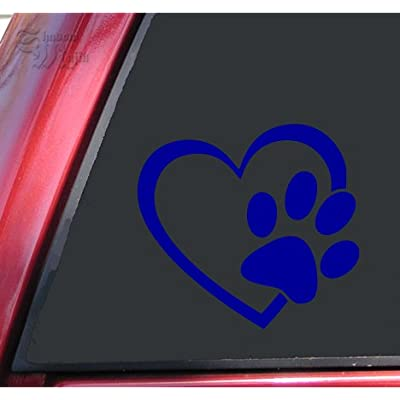 "ShadowMajik Heart and Paw Print Vinyl Decal Sticker (4"" X 3.7"", Blue): Automotive"