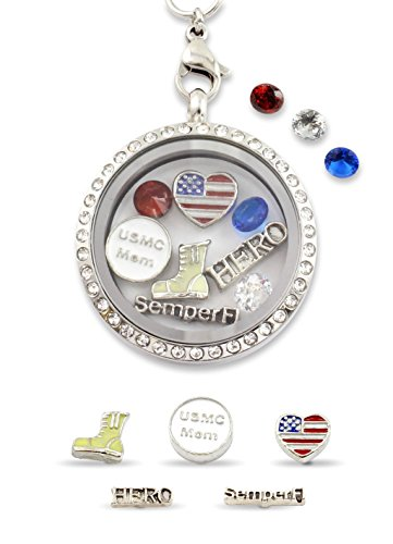 """""""USMC Mom"""" USA Flag Heart Floating Charm Living Memory Locket Magnetic Closure 30mm Stainless Steel Pendant Necklace"""