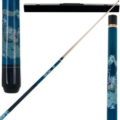 2 Piece Hardwood Chinese Blue Dragon Design Pool Stick Cue - With Carrying Case! by TMG